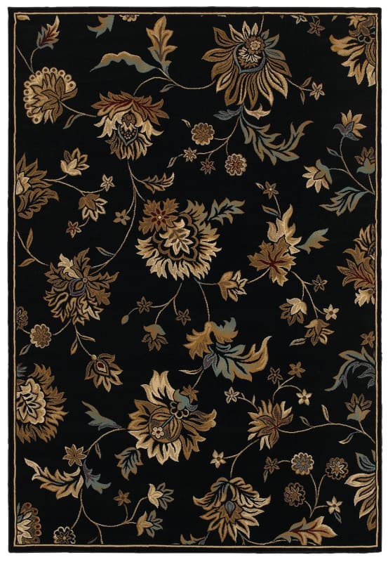 Rizzy Home CH4331 Chateau Power Loomed Polypropylene Rug Black 3 1/4