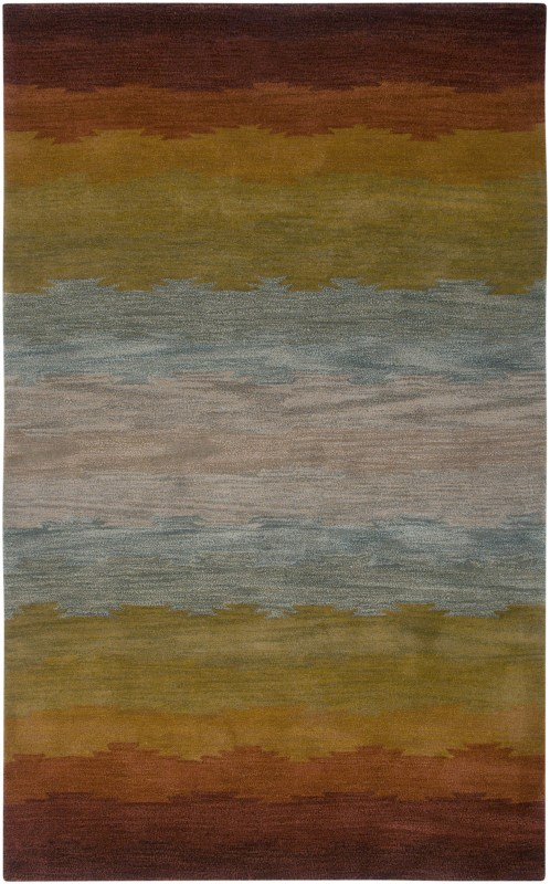 Rizzy Home CL2514 Colours Hand-Tufted New Zealand Wool Rug Rust 5 x 8