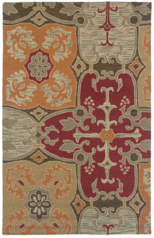 Rizzy Home CT1015 Country Hand-Tufted New Zealand Wool Rug Multi 5 x 8
