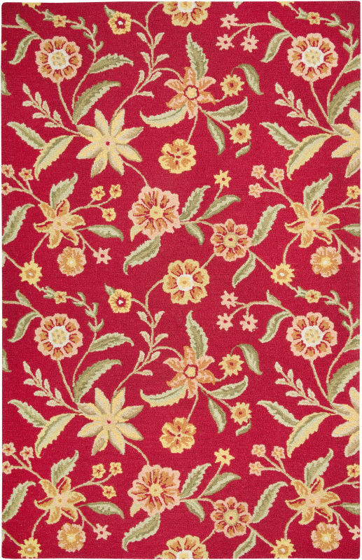 Rizzy Home CT1585 Country Hand-Tufted New Zealand Wool Rug Red 3 x 5