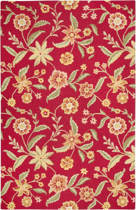 Rizzy Home CT1585 Country Hand-Tufted New Zealand Wool Rug Red 5 x 8