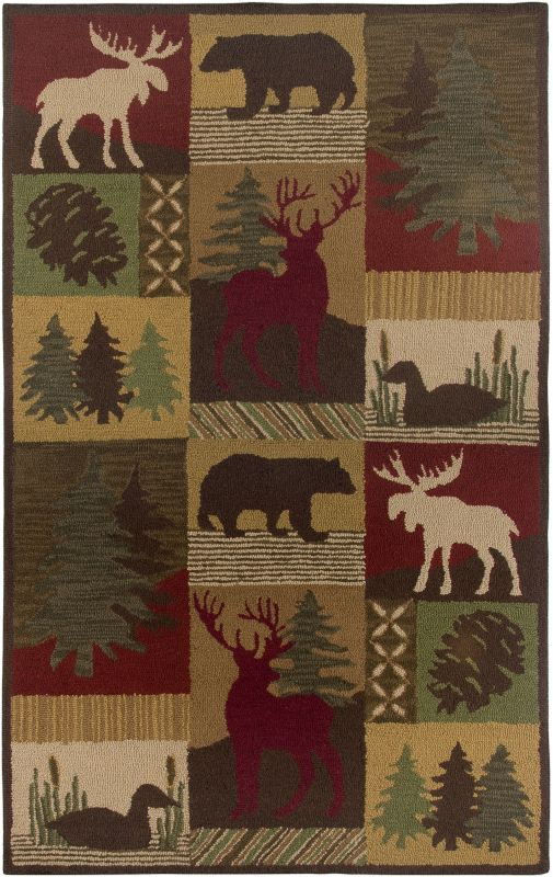 Rizzy Home CT2062 Country Hand-Tufted New Zealand Wool Rug Brown 5 x 8