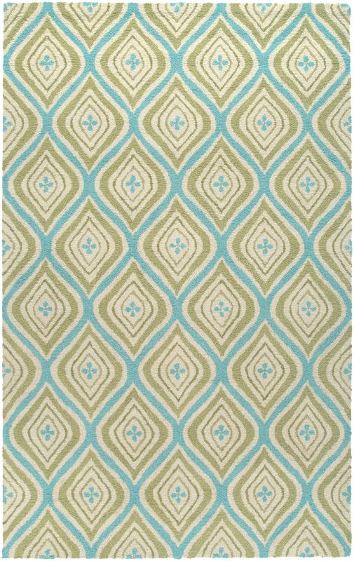 Rizzy Home CT3123 Country Hand-Tufted New Zealand Wool Rug Green 5 x 8