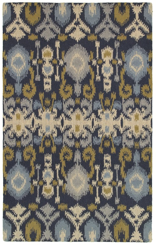 Rizzy Home CT8225 Country Hand-Tufted New Zealand Wool Rug Navy 5 x 8