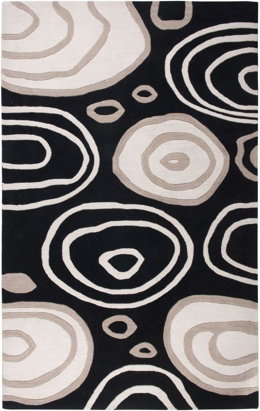Rizzy Home FN0071 Fusion Hand-Tufted New Zealand Wool Rug Black 3 x 5