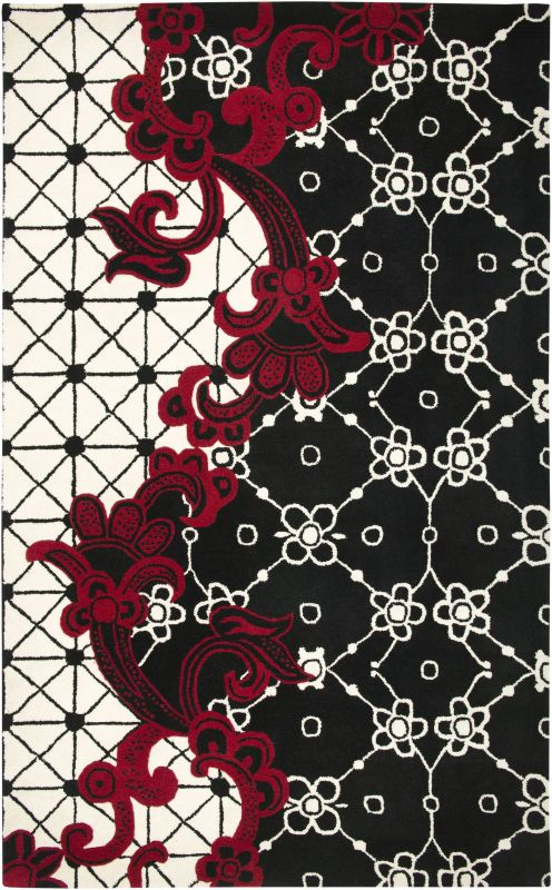 Rizzy Home FN1447 Fusion Hand-Tufted New Zealand Wool Rug Black 2 x 3