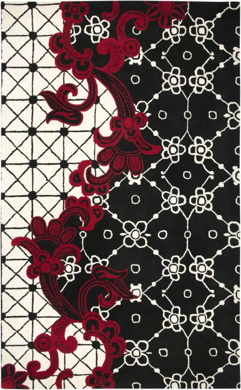 Rizzy Home FN1447 Fusion Hand-Tufted New Zealand Wool Rug Black 5 x 8