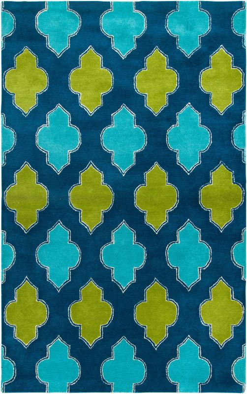 Rizzy Home FN2247 Fusion Hand-Tufted New Zealand Wool Rug Blue 5 x 8