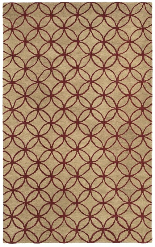 Rizzy Home OP8090 Opus Hand-Tufted Wool Rug Beige / Red 8 x 10 Home