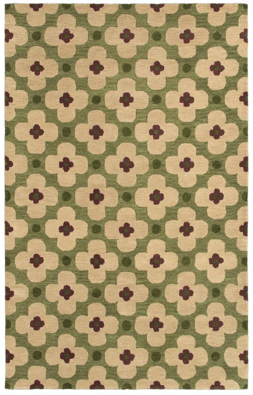 Rizzy Home OP8097 Opus Hand-Tufted Wool Rug Green 5 x 8 Home Decor