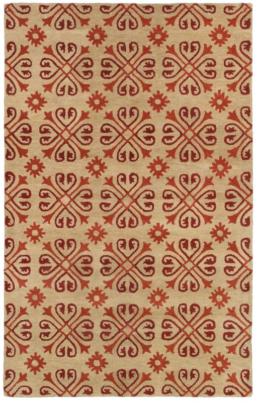 Rizzy Home OP8117 Opus Hand-Tufted Wool Rug Beige / Red 2 x 3 Home