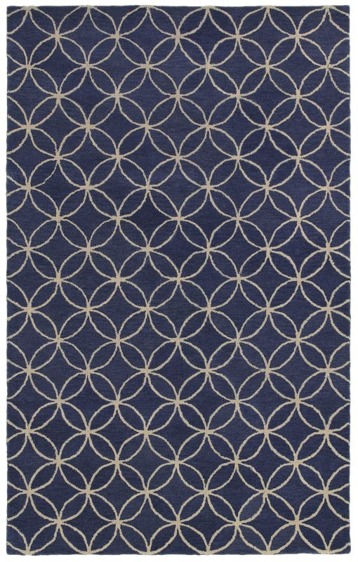 Rizzy Home OP8120 Opus Hand-Tufted Wool Rug Blue / Ivory 5 x 8 Home