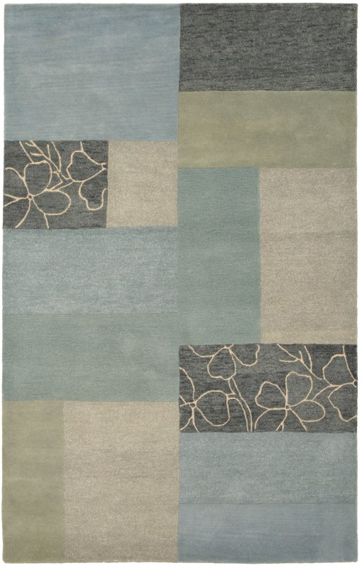 Rizzy Home PR0214 Pandora Hand-Tufted New Zealand Wool Rug Blue 5 x 8