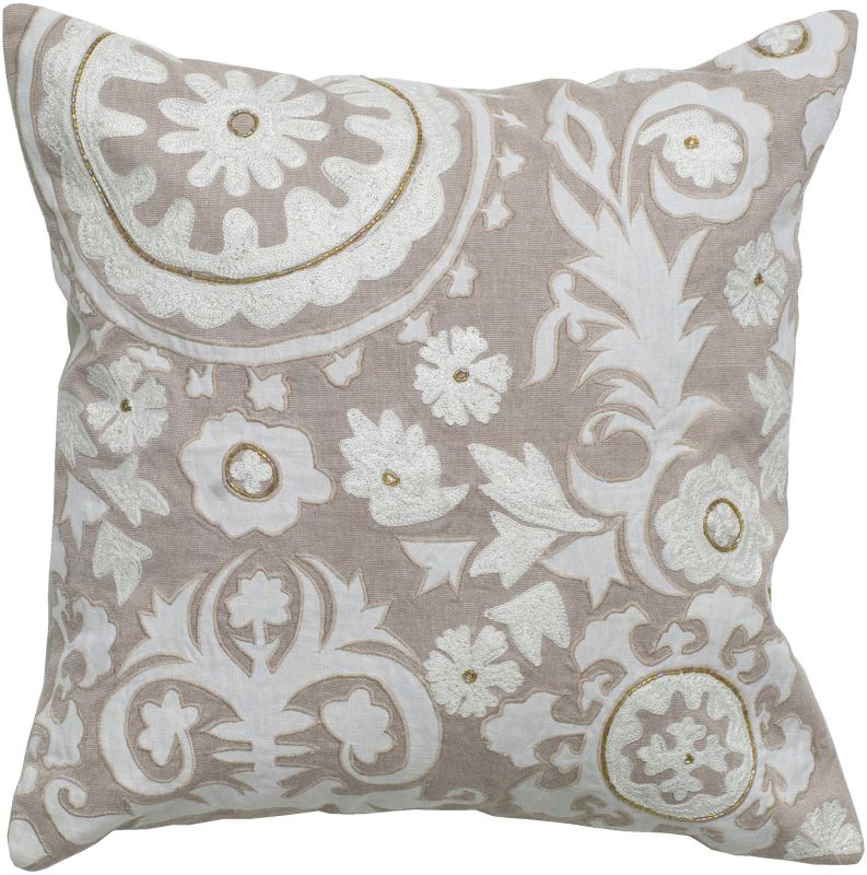 "Rizzy Home T04907 18"" x 18"" Pillow with Hidden Zipper and Polyester"