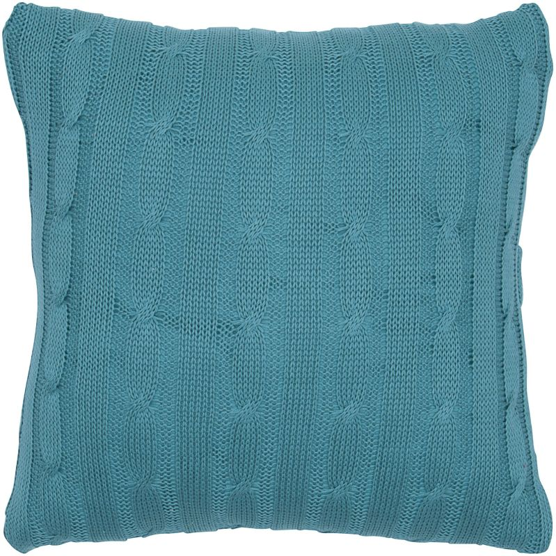 "Rizzy Home T05069 18"" x 18"" Pillow with Wooden Buttons and Polyester"