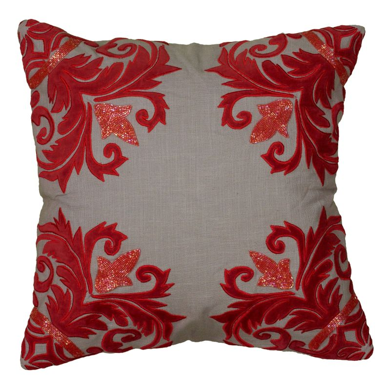 "Rizzy Home T06234 18"" x 18"" Pillow with Hidden Zipper and Polyester Sale $54.00 ITEM: bci2622560 ID#:PILT06234GYRE1818 UPC: 844353602296 :"