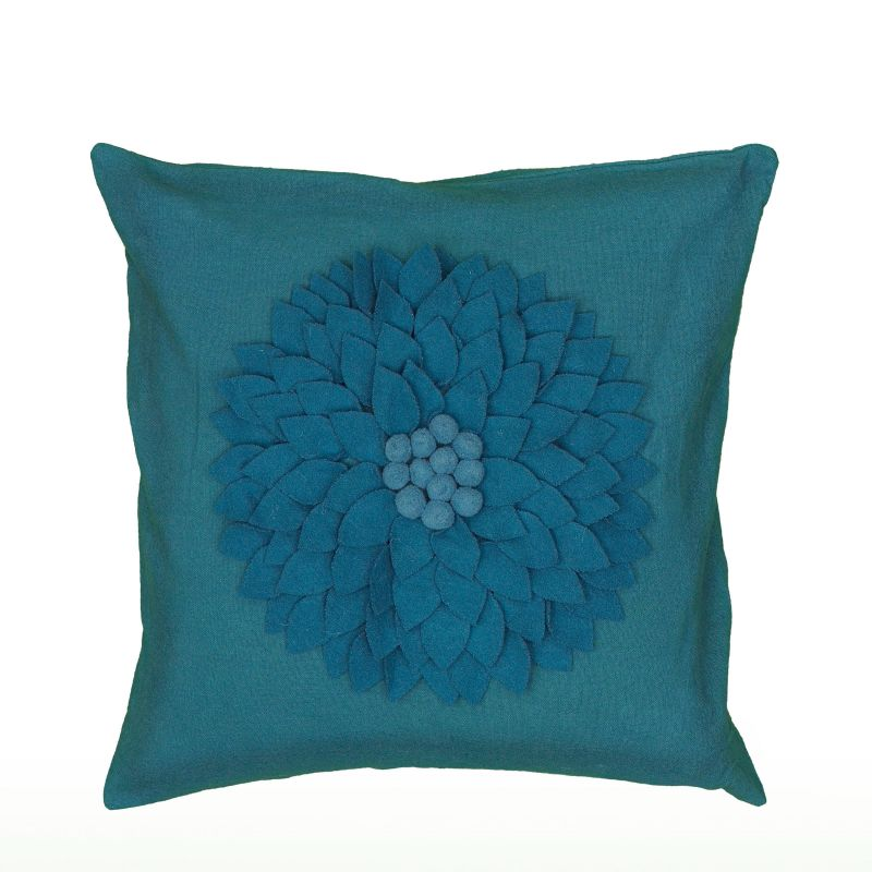 "Rizzy Home T06501 18"" x 18"" Pillow with Hidden Zipper and Polyester"