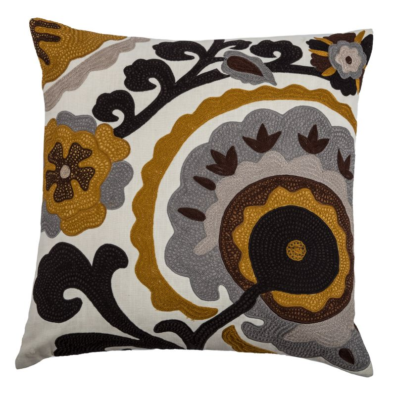 "Rizzy Home T07932 20"" x 20"" Pillow with Hidden Zipper and Polyester"