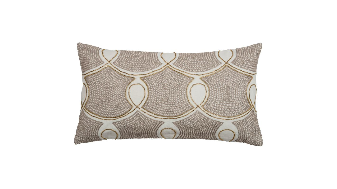 "Rizzy Home T08555 11"" x 21"" Pillow with Hidden Zipper and Polyester"