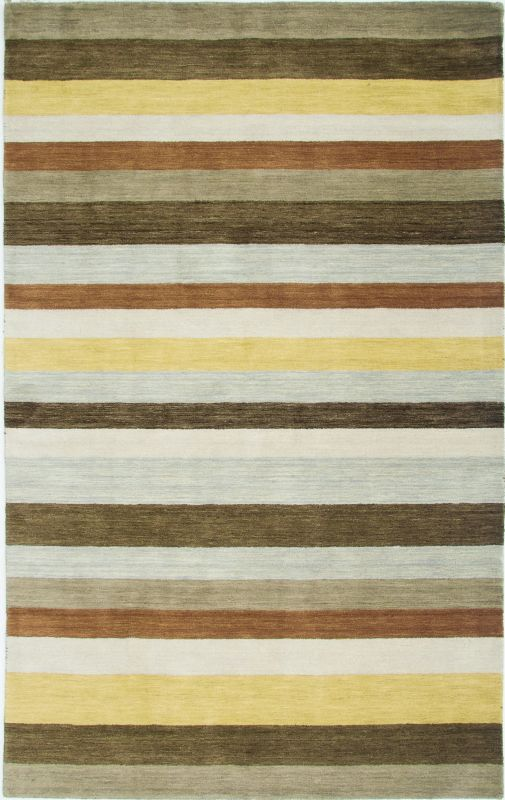 Rizzy Home PL3131 Platoon Hand Loomed New Zealand Wool Rug Brown 5 x 8
