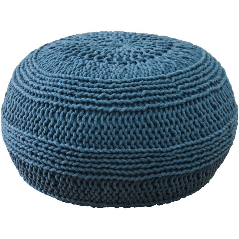 Rizzy Home T05048 Roped Cotton Cover Pouf Blue Home Decor Poufs