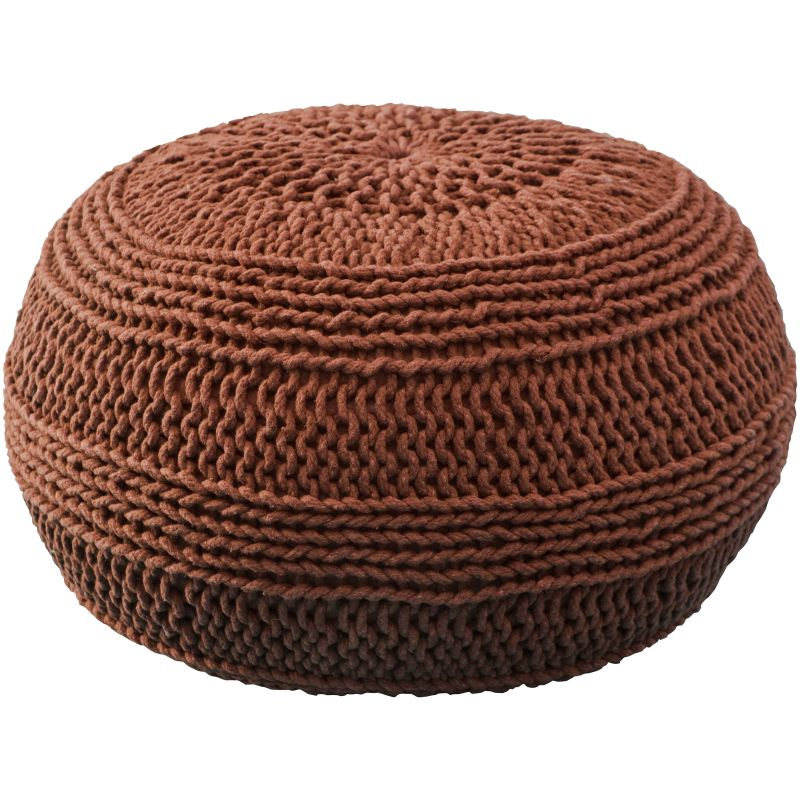 Rizzy Home T05104 Roped Cotton Cover Pouf Rust Home Decor Poufs