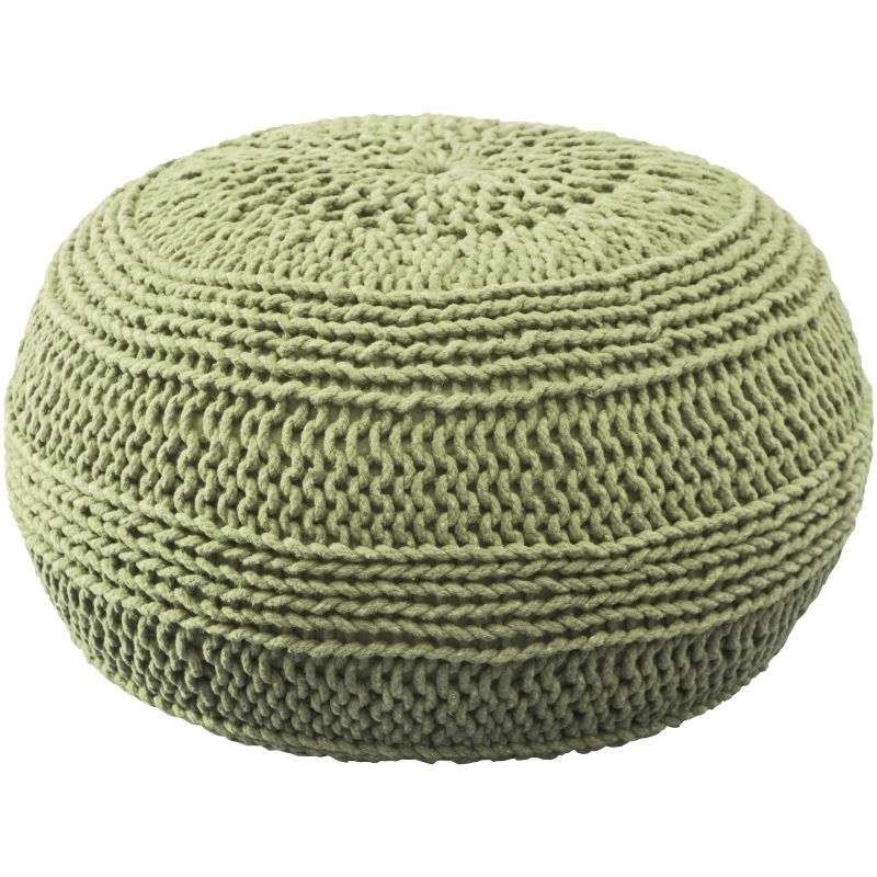 Rizzy Home T05107 Roped Cotton Cover Pouf Lime Green Home Decor Poufs