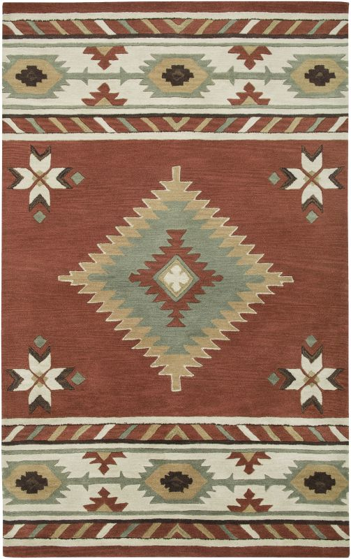 Rizzy Home SU1822 Southwest Hand-Tufted Wool Rug Navajo Red 5 x 8 Home