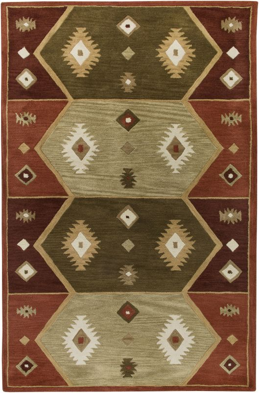 Rizzy Home SU1937 Southwest Hand-Tufted Wool Rug Hopi Red 9 x 12 Home