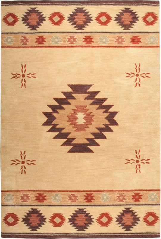 Rizzy Home SU2007 Southwest Hand-Tufted Wool Rug Beige 5 x 8 Home