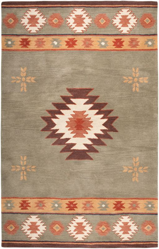 Rizzy Home SU2008 Southwest Hand-Tufted Wool Rug Green 2 1/2 x 8 Home