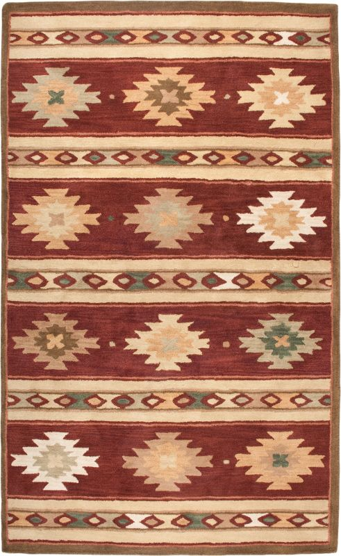 Rizzy Home SU2012 Southwest Hand-Tufted Wool Rug Red 9 x 12 Home Decor