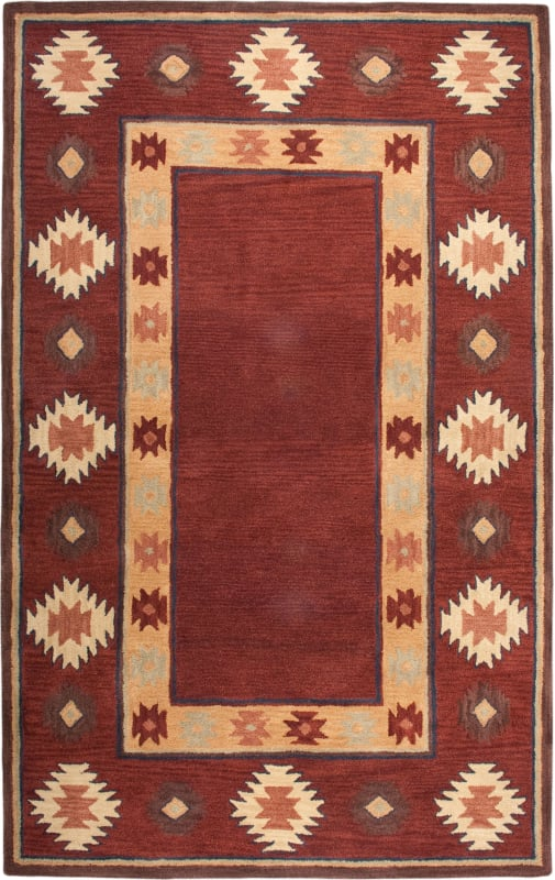 Rizzy Home SU2014 Southwest Hand-Tufted Wool Rug Red 5 x 8 Home Decor