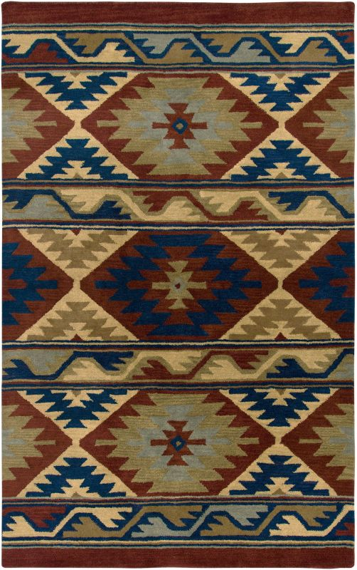 Rizzy Home SU2253 Southwest Hand-Tufted Wool Rug Red 9 x 12 Home Decor