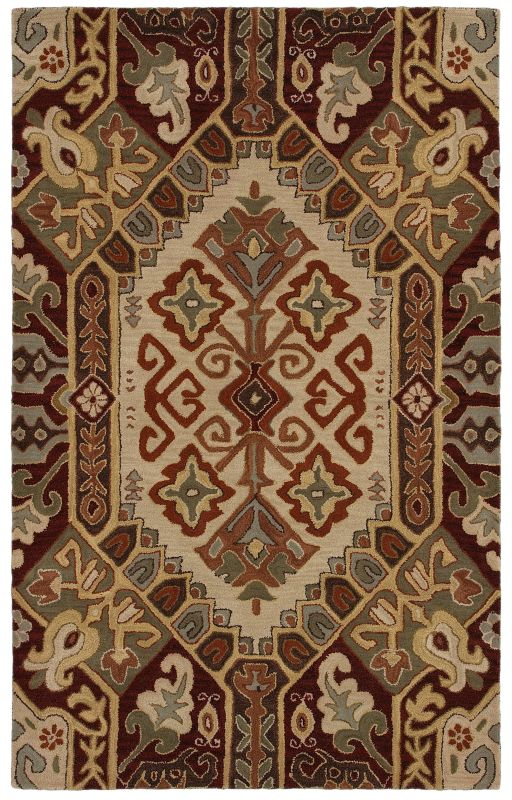 Rizzy Home SU8105 Southwest Hand-Tufted Wool Rug Beige / Red 5 x 8