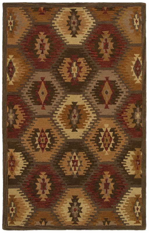 Rizzy Home SU8152 Southwest Hand-Tufted Wool Rug Brown 5 x 8 Home