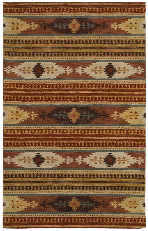 Rizzy Home SU8156 Southwest Hand-Tufted Wool Rug Rust 5 x 8 Home Decor