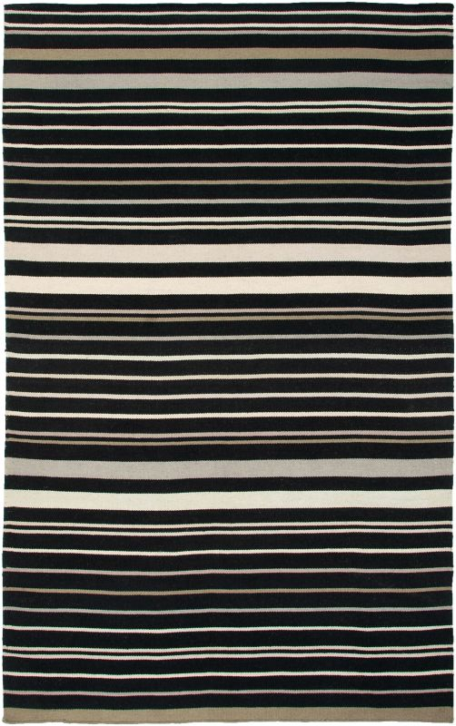 Rizzy Home SG2814 Swing Hand Woven New Zealand Wool Rug Black 5 x 8