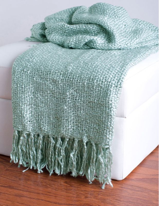 "Rizzy Home TH0113 50"" x 60"" Loom Woven Throw with Fringe Spa Home"