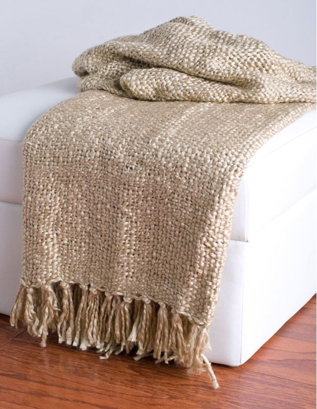 "Rizzy Home TH0114 50"" x 60"" Loom Woven Throw with Fringe Natural Home"