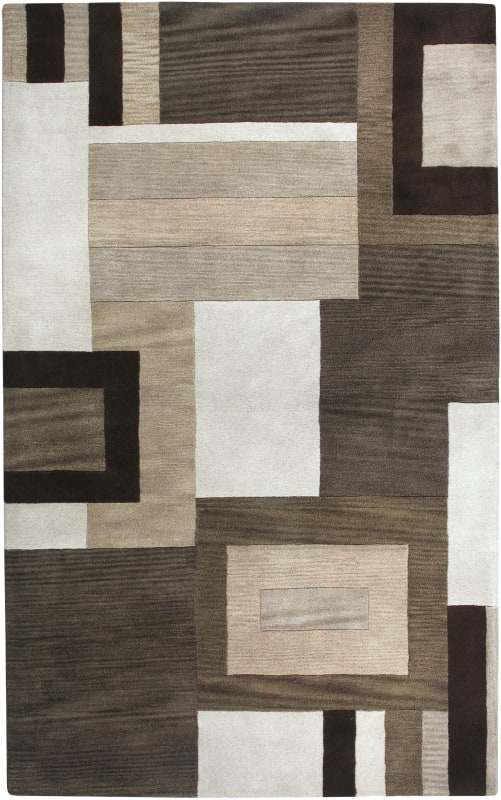 Rizzy Home VO1431 Volare Hand-Tufted Wool Rug Brown 8 x 10 Home Decor