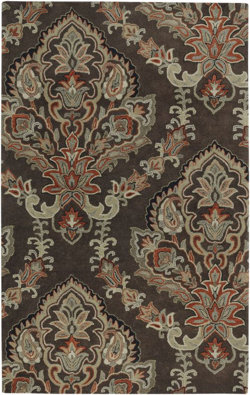 Rizzy Home VO1680 Volare Hand-Tufted Wool Rug Chocolate 5 x 8 Home