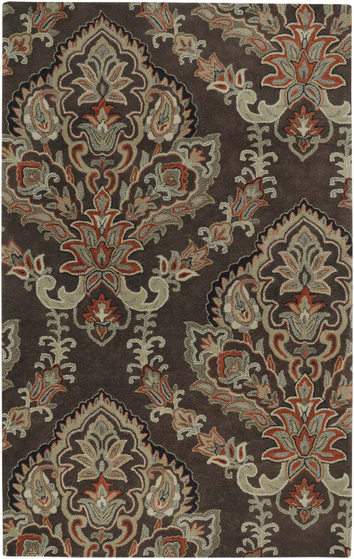 Rizzy Home VO1680 Volare Hand-Tufted Wool Rug Chocolate 9 x 12 Home