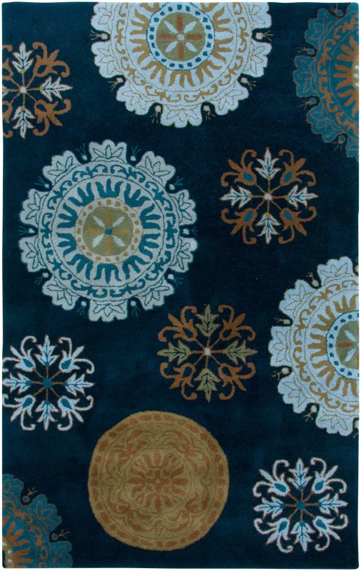Rizzy Home VO2467 Volare Hand-Tufted Wool Rug Navy 9 x 12 Home Decor