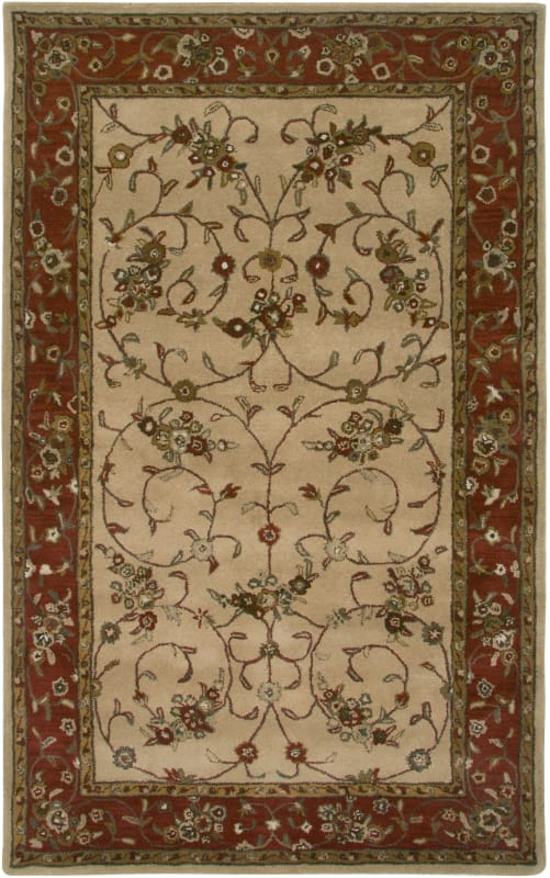 Rizzy Home VO2551 Volare Hand-Tufted Wool Rug Beige / Rust 2 x 3 Home