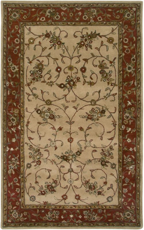 Rizzy Home VO2551 Volare Hand-Tufted Wool Rug Beige / Rust 5 x 8 Home
