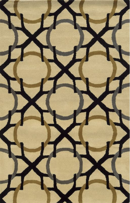 Rizzy Home VO5088 Volare Hand-Tufted Wool Rug Beige / Black 3 x 5