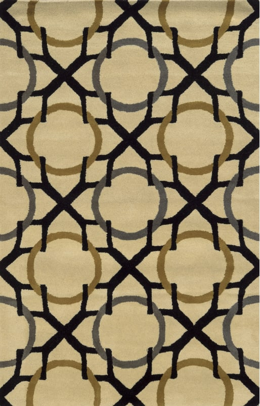 Rizzy Home VO5088 Volare Hand-Tufted Wool Rug Beige / Black 8 x 10