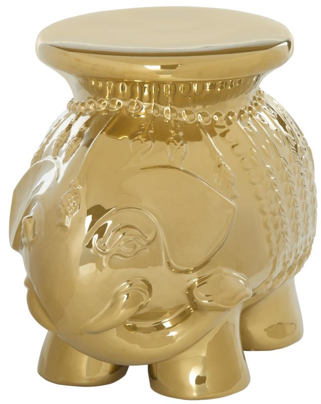 Safavieh ACS4501 Ceramic Elephant Stool Gold Home Decor Garden Stools