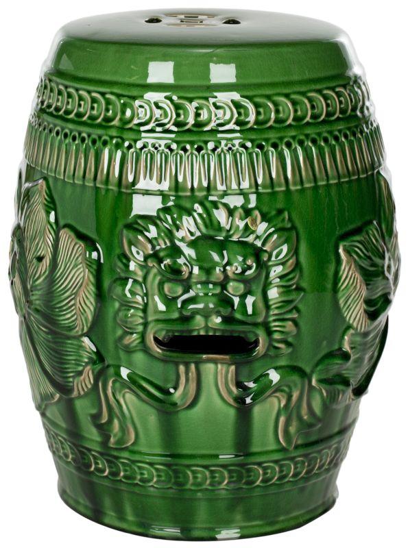 Safavieh ACS4505 Chinese Dragon Ceramic Stool Green Home Decor Garden